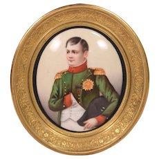 Antique Painting on Porcelain Plaque Napoleon Gilt Bronze Easel Back Frame