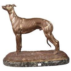 Superb Antique Bronze Male Greyhound Sculpture Inscribed Suzanne Bizard