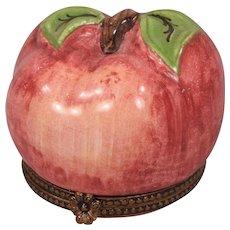 Vintage Limoges Porcelain Hand Painted Apple Shaped Box