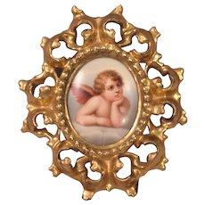 Antique Painting On Porcelain Cherub Plaque Original Carved Giltwood Frame