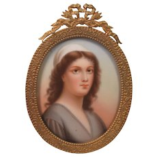 Beautiful Antique Painting On Porcelain Plaque Gilt Metal Easel Back Frame
