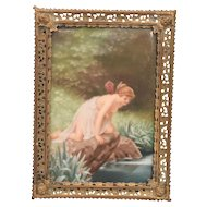 Gorgeous Semi Nude Antique Painting On Porcelain Plaque Fairy Kneeling By A Pond