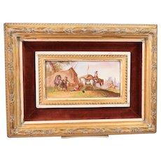 Antique Painting on Porcelain Plaque 3 Figures 4 Horses