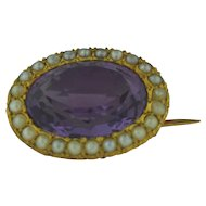 Beautiful Antique 14K Gold Amethyst & Cultured Pearls Pin