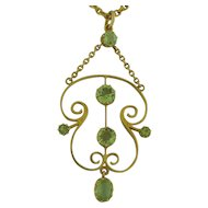 Exquisite Antique 14k Yellow Gold 2.3 Carats Peridots Necklace