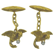 Superb Pair of Antique 18k Mythological Bird & Diamonds Cufflinks