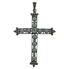 Beautiful Antique Platinum Diamonds & Pearls Cross