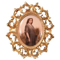 Beautiful Antique German Painting on Porcelain Plaque Depicting Ruth
