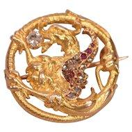 Unique Antique 18K Gold Diamonds Rubies Griffin Brooch