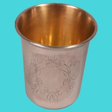Rare Antique 875 Russian Silver Kiddush Cup Gilt Lining