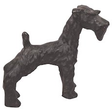 Rare Large Cold Painted Vienna Bronze Giant Schnauzer Dog Circa 1930's