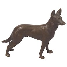 Beautiful Circa 1930's Cold Painted Vienna Bronze German Sheperd
