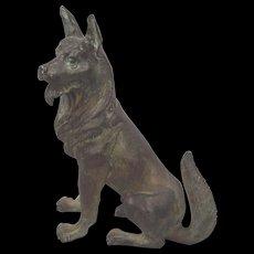 Large Circa 1930's German Shepherd Vienna Bronze Dog