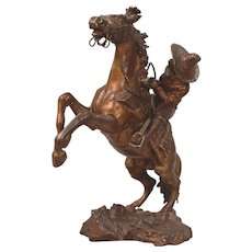 Antique Vienna Bronze Cowboy On Rearing Horse