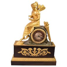 Ultimate Extraordinary Antique Gilt Bronze French Clock Fairy Holding Bumble Bee