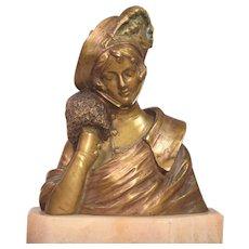 Beautiful Antique Art Nouveau Bronze Lady Feathered Hat & Muff Signed Alonzo