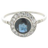 Superb 1.06 Carat Gem Sapphire Diamonds Platinum Art Deco Ring