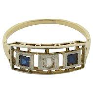 Art Deco Diamond Sapphires 18K Yellow Gold Ring