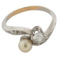 Rare Art Deco Diamond & Pearl Platinum Bypass Ring