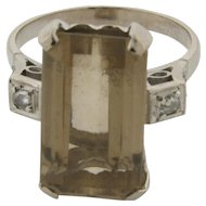 Art Deco Platinum Diamond Accents Fancy Cut Topaz Ring