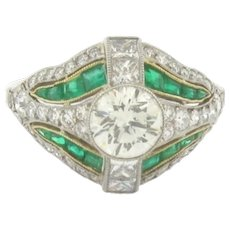 Beautiful Art Deco Design 1.03 Center Diamond Emeralds Platinum Ring 2.63 TGW