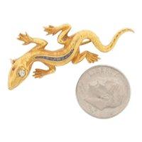 Antique 18K Gold Handmade Lizard & Sapphires Brooch