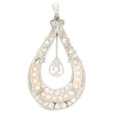 Antique Art Nouveau Platinum Dangling Pear Shaped Diamond Pendant With Pearls