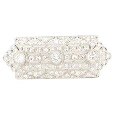 Beautiful Art Deco Platinum 97 Diamonds Brooch Total Diamond Weight 3.5 Carats