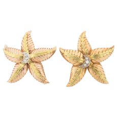 Pair of Beautiful Vintage 18K Gold and Diamonds Large Star Fish Brooches.