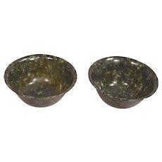 Pair of Beautiful Circa 1900 Spinach Jade Chinese Bowls