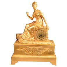 Beautiful Antique French Mercury Gilt Bronze Clock Circa 1800