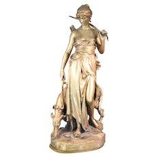 Eugene-Antoine Aizelin 1821-1902 Exquisite Bronze Sculpture of Diana & Her Borzoi
