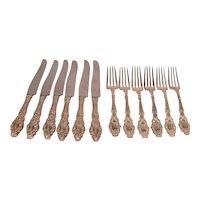 Gorham Virginas Art Nouveau 1904 Sterling Silver 6 Forks, 6 Knives