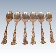Six Buttercup Gorham Sterling Silver Teaspoons Monogrammed M