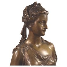 Eugene Laurent 1832-1898 Beautiful Bronze Sculpture of Clotho Greek Goddess of Fate