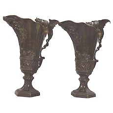 Antique Pair of French Griffin Handled Mythological Bronze & Gilt Ewers