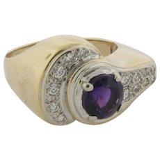 Beautiful 14K Gold Gem Amethyst 14 Diamonds Designer Made Ring