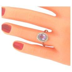 Antique Platinum Art Nouveau Oval Amethyst 24 Diamonds Ring