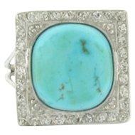 Art Deco Cushion Cut Cabochon Turquoise 36 Diamonds Platinum Ring
