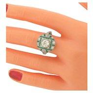 Exquisite Art Deco Platinum Diamonds Emeralds Ring