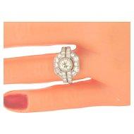 Art Deco Diamonds Platinum Handmade Mounting Ring TCW 2 CTS Center Diamond .93