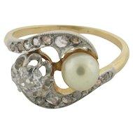 Art Deco Diamonds Ocean Pearl Platinum 18K Gold Ring