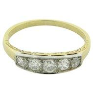 Beautiful Vintage Art Deco 5 Diamonds 1/2 Carat 18K Gold Wedding Band