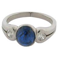 Beautiful Platinum Sapphire Diamonds Art Deco Ring