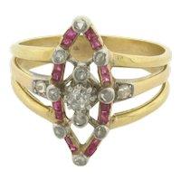 Unique Art Deco 18K Gold 12 Diamonds & 16 Rubies Ring