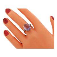 Antique Art Deco Amethyst Diamonds Platinum 18K Gold Ring