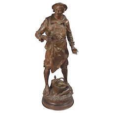 Signed E. Picault Jovial Wine Merchant Vintner Bronze Sculpture