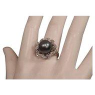 Big Beautiful Lustrous South Seas Pearl 14mm 18K Gold & Diamonds Signed Ring