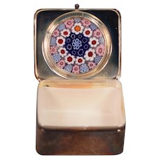 Art Glass Silver Porcelain French Pill Or Trinket Box
