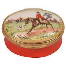 Halcyon Days Enamel Equestrian Hunt Scene Pill Or Trinket Box.